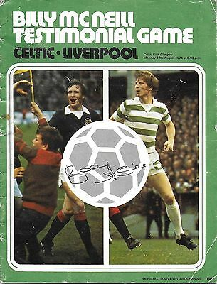 BILLY McNEILL TESTIMONIAL PROGRAMME>CELTIC v LIVERPOOL Aug 1974