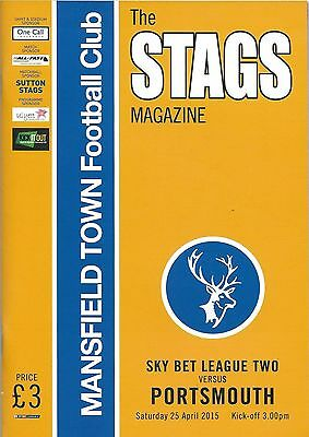Football Programme>MANSFIELD TOWN v PORTSMOUTH Apr 2015