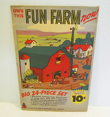 FUN FARM 1940's PAPER PUNCH OUT TOY FARM 24 pc. SET by REED UNUSED IN ENVELOPE