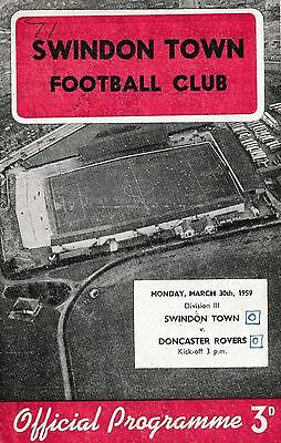 Football Programme>SWINDON TOWN v DONCASTER ROVERS Mar 1959
