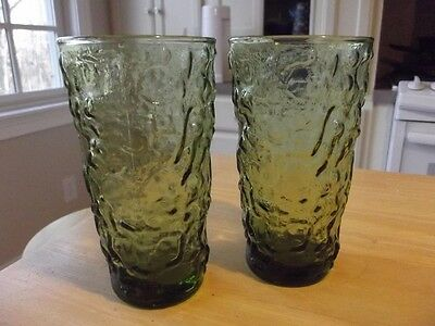 2 Anchor Hocking Crinkle Glass Green MILANO/LIDO 12 oz Tumblers-Set of Two