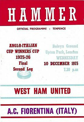 Football Programme>WEST HAM UNITED v FIORENTINA DEC 1975 Anglo-Italian Cup Final