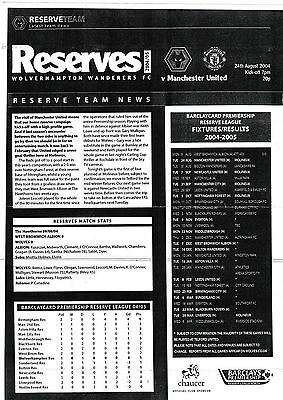 Football Programme>WOLVES RESERVES v MAN UTD RESERVES Aug 2004
