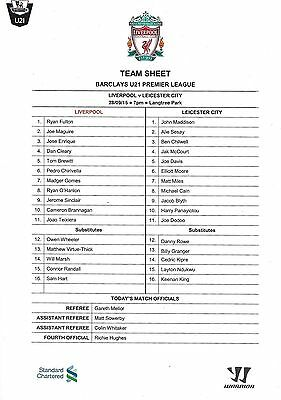 Programme/Teamsheet>LIVERPOOL UNDER-21 v LEICESTER CITY UNDER-21 Sept 2015
