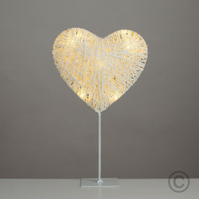 Modern Battery Powered Wicker Style Decorative LED Heart Table Lamp Light Home