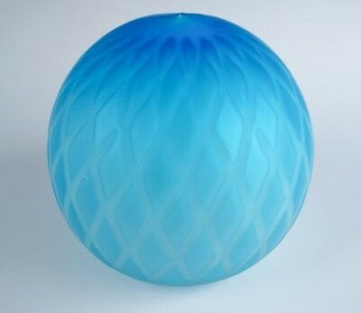 Rare Antique Early 20c Quilted Blue MOP Mother of Pearl Satin Glass Paperweight