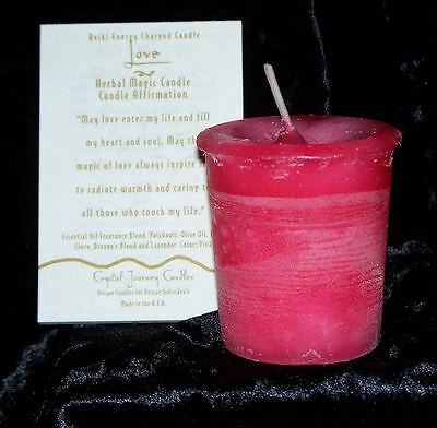 LOVE REIKI candles Crystal Journey CANDLES Herbal MAGIC votives pagan wicca