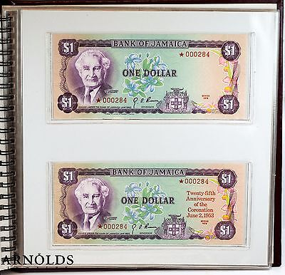 1978 Jamaica 25th Anniversary Currency Book - Matched Serial #'s 000284 Gem CU