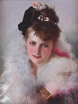 British School Fine Antique Impressionist Oil Painting Portrait of a Lady Signed