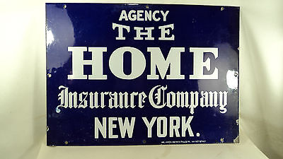 Rare Antique Porcelain Cobalt Blue Sign THE HOME insurance co. NY