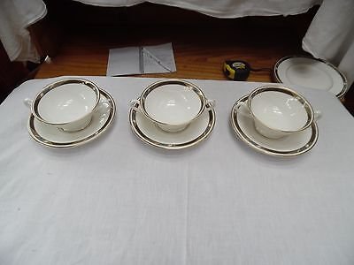 Royal Worcester Set of Three Cream Soup Cups and Saucers - Raffles