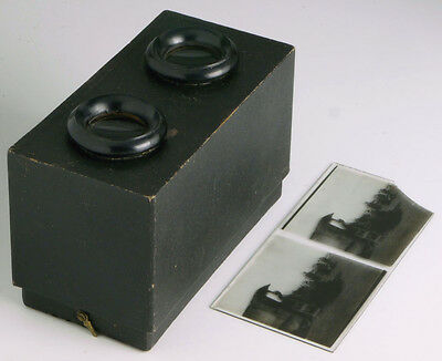 6x13cm stereo viewer + stereo glass positive _______________ vintage stereoscope