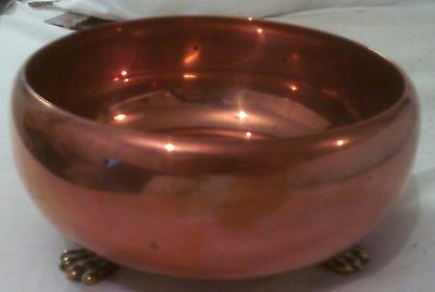 Copper Bowl with 3 Brass Lion Feet