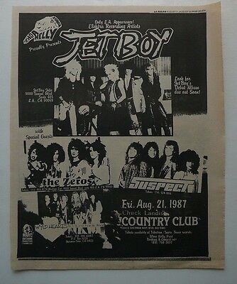 Jetboy / The Zeros / Suspect Large 80's L.a Show Ad The Country Club