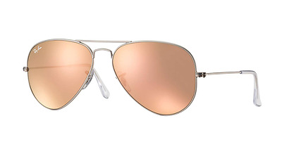 Ray-Ban Women's Small Copper Pink Mirror Aviator Silver Frame RB3025 019/Z2 55MM