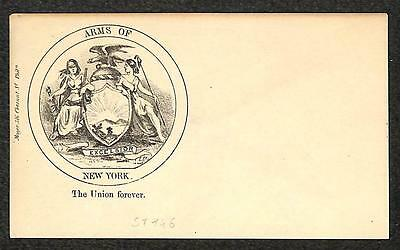 Usa Civil War Patriotic Union Cover Arms Of New York Allegorical (1861)
