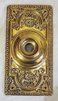 Old Antique SARGENT & CO. Victorian Ornate Patterned Brass DOORBELL COVER PLATE