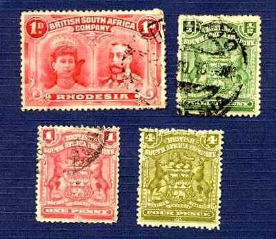 British South Africa(Rhodesia) 1898-1910-#102,59,60,64-Set Of 4-Used