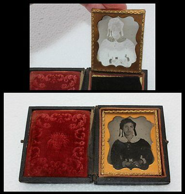 1855-1865 Civil War 1/9 Plate Ambrotype Lady on Glass Photo in Case Antique OLD