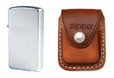 Zippo Slim, Satin Chrome Lighter and Brown Leather Belt Pouch #1605_LPCB
