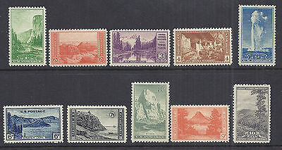 US 1934 National Parks Year Set of 10, Complete - 740-749 Mint hinged