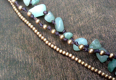 Handmade Hill Tribe Necklace 3-Strand Green Aventurine Metal Beads and Bells