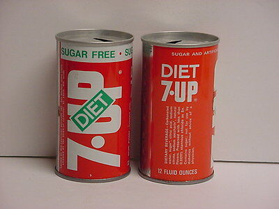 Pair of Vintage Diet 7-Up Straight Steel Pull Tab Top Opened Soda Cans