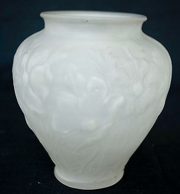 Vintage Frosted Glass Floral Vase In The Style Of Lalique
