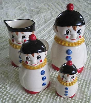 Goebel West Germany Clown Set-Two Condiment Jars Creamer and Pepper Shaker