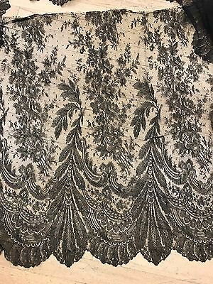 Antique Civil War era handmade black net lace skirt bottom large panel