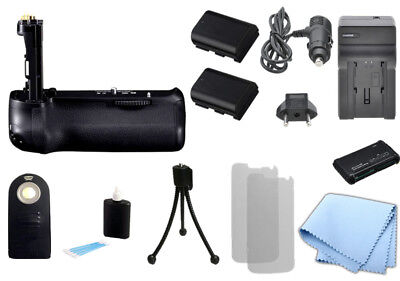 Battery Grip for Canon BG-E14 & 70D Camera + 2 LP-E6 Battery, Charger, Remote