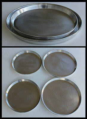 "Lot of 4 Round Commercial Restaurant Heavy Aluminum Pizza Pans 14"" 16"" LG & MED"