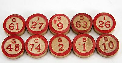 Vintage BINGO Numbers Round Wood Red Markings for Crafts, Scrapbooking Lot of 10