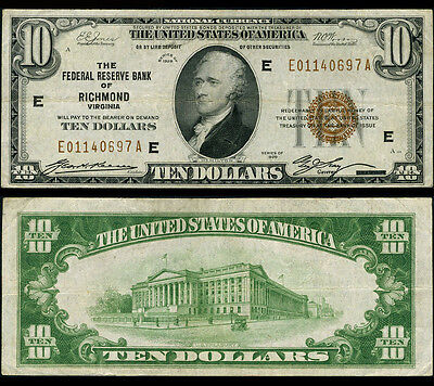FR. 1860 E $10 1929 Federal Reserve Bank Note Richmond Better Very Fine+