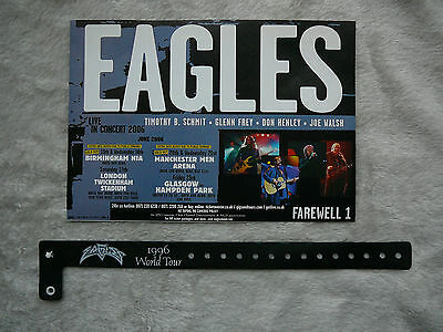 The Eagles 1996 World Tour Wristband And Uk Tour Sign