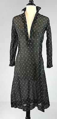 Rare antique 1920s black sheer dotted swiss print chemise dress nightgown