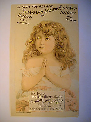STANDARD SHOES antique Victorian TRADE CARD CHROMOLITHOGRAPH little girl prays