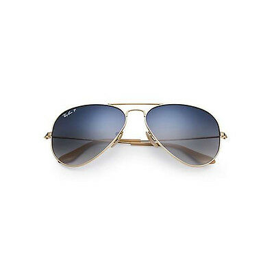 Ray-Ban POLARIZED Aviator Blue / Grey Gradient Lens w/ Gold Frame RB3025 001/78