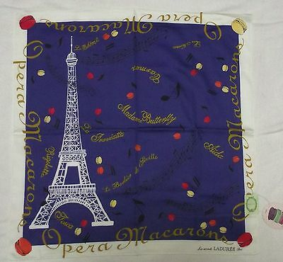 "Laduree Paris eiffel blue hadnkerchief cotton 100% 58x58cm(22.88"")made in Japan"