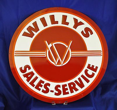 "Willys Sales Service Jeep Round Metal Tin Sign 24"" Large Man Cave Wall Decor New"