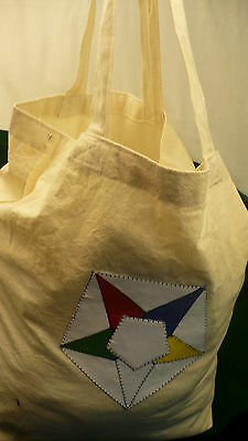 Eastern Star Cotton carry shopping bag OES colour logo patch carryall