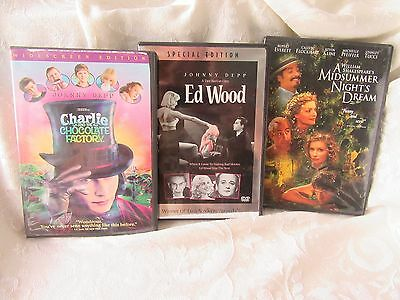 Set of 3 DVD Movies: Charlie & The Choc Factory; Midsummer Nights Dream; Ed Wood