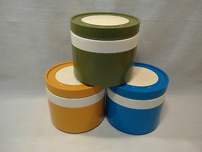 Vintage Thermos King-Seeley Insulated Jars 8oz Model 1155/3 Blue Gold Green