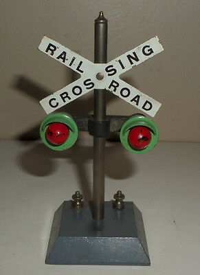 """Vintage American Flyer 760 Metal Railroad Crossing Signal 5"""" Tested And Working"""
