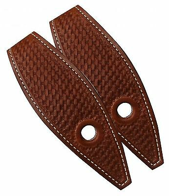 Pair Western Basketweave Leather Slobber Straps For Horse Bridle Reins or Mecate