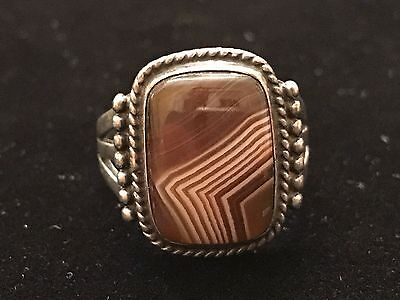 Vintage Mexico Taxco Sterling Silver & Brown Stripe Stone, Old Pawn Sz 9