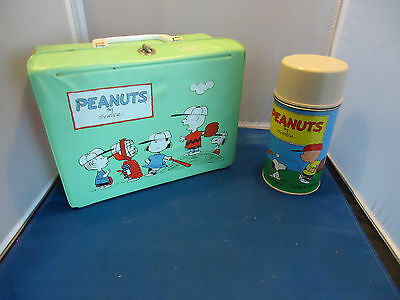 Charlie Brown Peanuts Schulz vtg vinyl lunchbox w/ thermos  king seeley comic