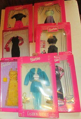 Lot of 7 BARBIE Doll FASHION AVENUE Outfits in Packages 1995 to 1999