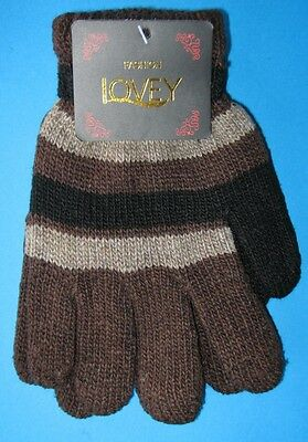 One Pair KIDS Thick Winter Knitted Gloves NWT Black Brown Stripes FREE POST