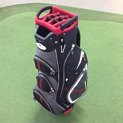 Eagles & Birdies STABLEFORD Deluxe Cart Bag LOADED WITH FEATURES- Blk/Char/Red